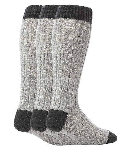 3 Pairs Mens Knee High Wool Knit Boot Socks