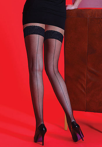 SILKY Black Sheer Hold Ups with Back Seam