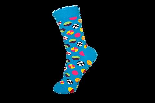 Adults - Sports Themed Pattern Crew Socks