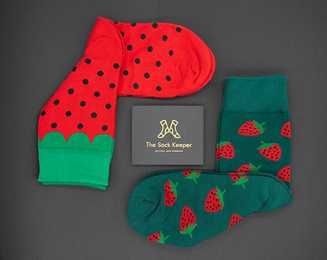 Adult-Food Lover Strawberry Odd Socks