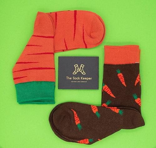 Adult-Food Lover Carrot Odd Socks