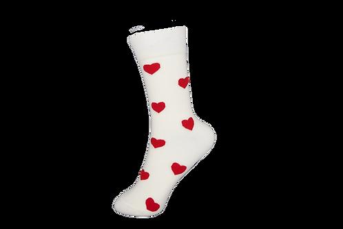 Adults - Red Love Heart Crew Socks