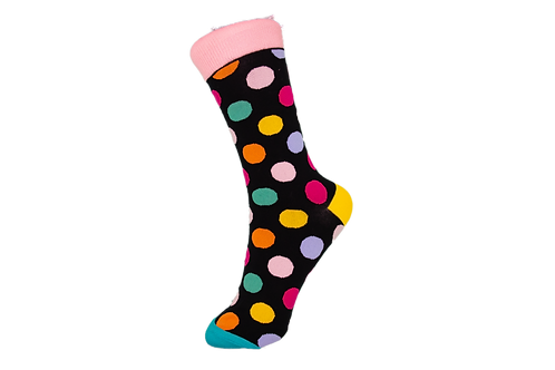 Adults - Polka Dot Cotton Socks - Black