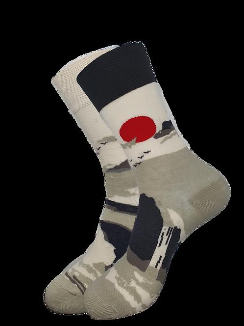 Adult -Japanese Art Rising Sun Odd Socks