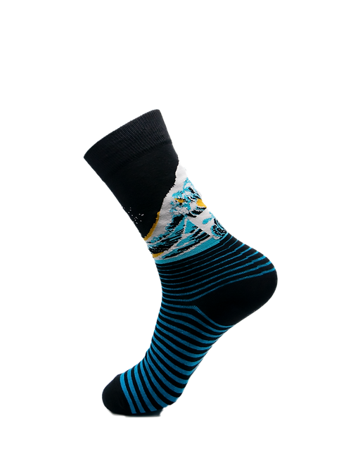 Adult - Great Waves Cotton Socks
