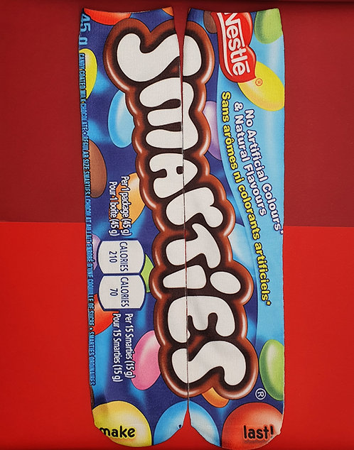 Adults Sublimated Crew Socks. Smarties