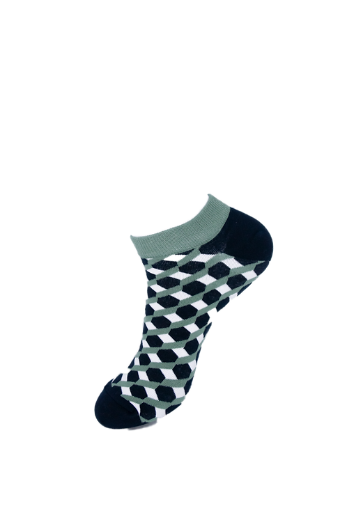 Adults Chequered Black and White Ankle Socks
