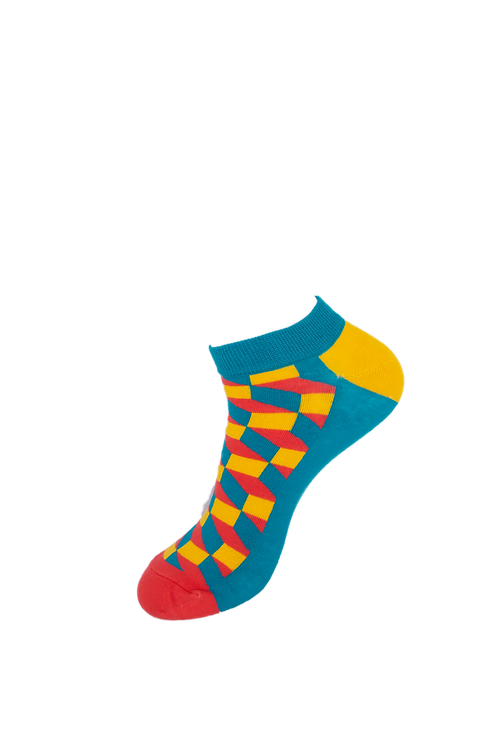 Adults-Colourful Chequered Ankle Socks.