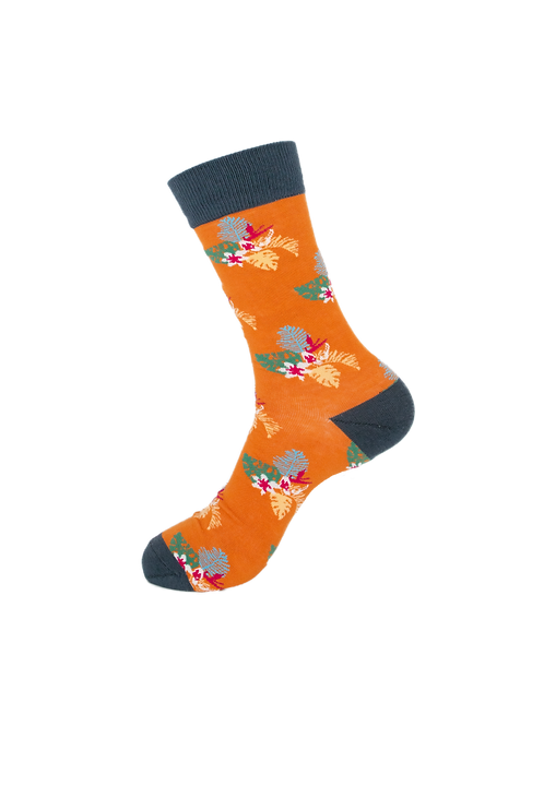 Adults- Luxury Orange flowers Cotton Socks