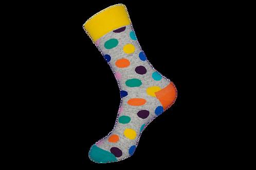 Adults - Polka Dot Cotton Socks - Grey