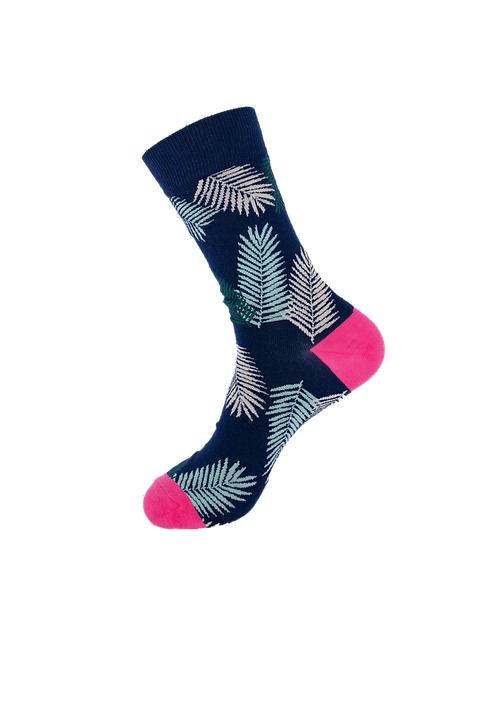 Adult-Luxury Navy Leaves Cotton Socks
