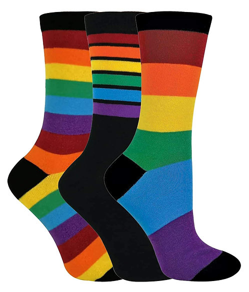 3 Pairs Mens/Ladies Striped Cotton Rainbow Socks