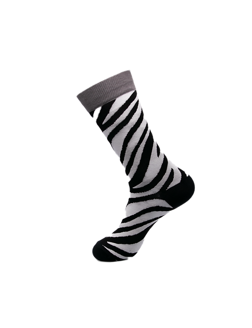 Adults - Zebra Patterned Cotton Rich Crew Socks