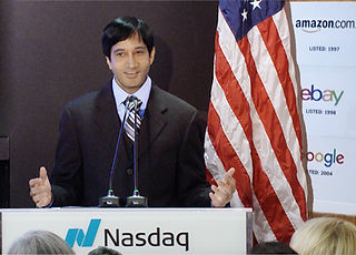 Dr Vijay Ram at the Nasdaq stock exchang