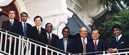 Official Photograph of Sri Lanka Telecom Board in 2002 of Mr. Kazuhiro Yaginuma, Mr. Ajit Ekanayake, Mr. Kiyoshi Maeda, Mr. N. Pathmanathan, Mr. Ananda Goonatileke, Mr. H. N. Gunewardena,Mr. Shuhei Anan and SLT Chairman Mr. Thilanga Sumathipala