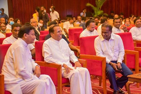 Maithripala Sirisena laughs with Thilanga Sumathipala