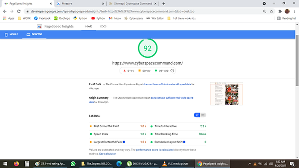 Google 2 Web Rating 92 on April 25 2021