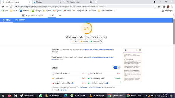Google 2 Mob Rating 54 on April 26 2021