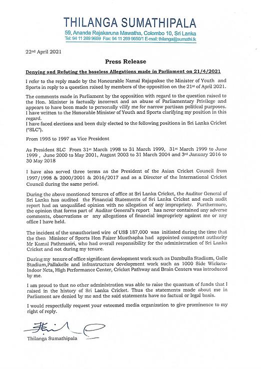 Press Release 22 April 2021 Hon Thilanga