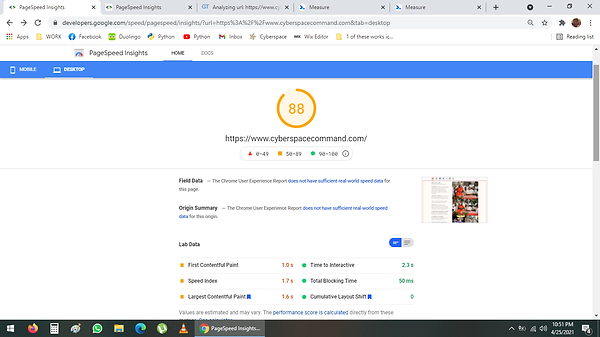 Google Web Rating 88 on April 25 2021 pa