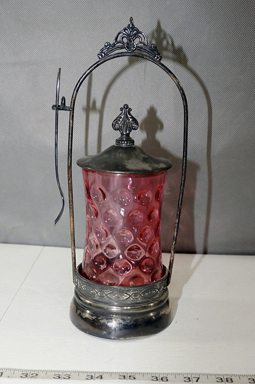 Late 1800s Pickle Castor With Cranberry Jar No 602 Mfg Silve