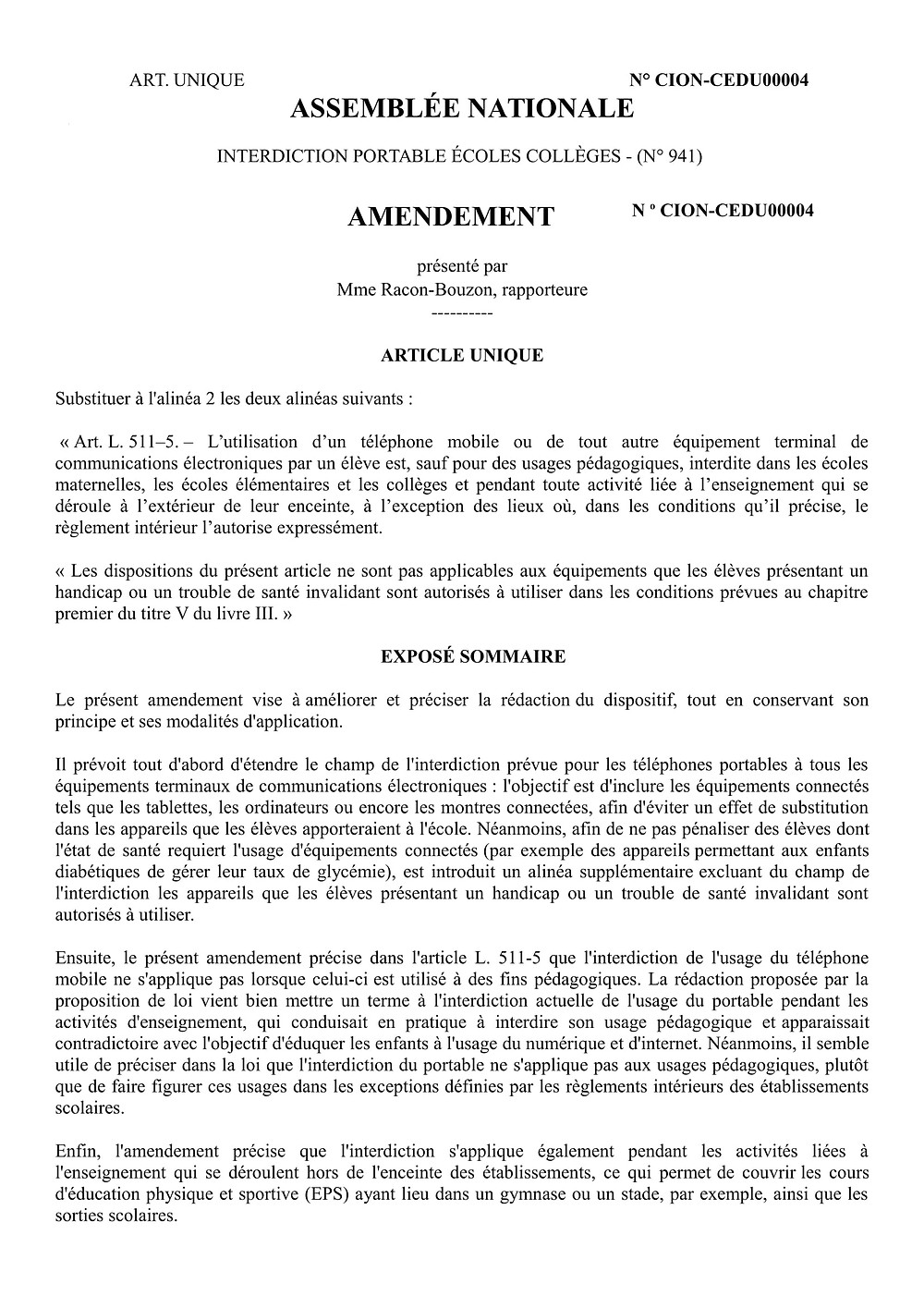 Amendement réécriture de l'article 1