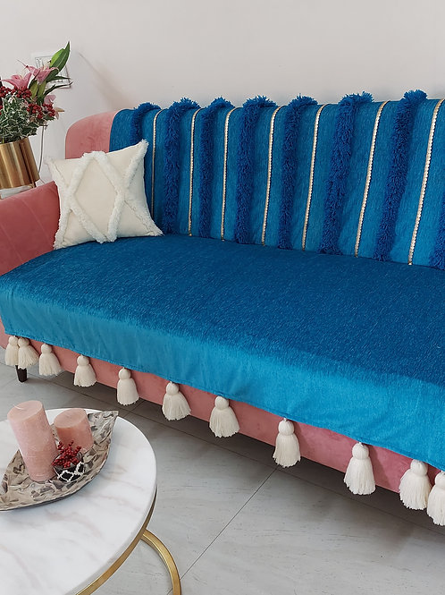 Blue Moroccan Tufted Tassel Couch Cover Set