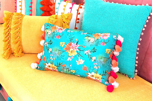 Floral Rectangular Cushion Cover with Multiple Bud Tassels
