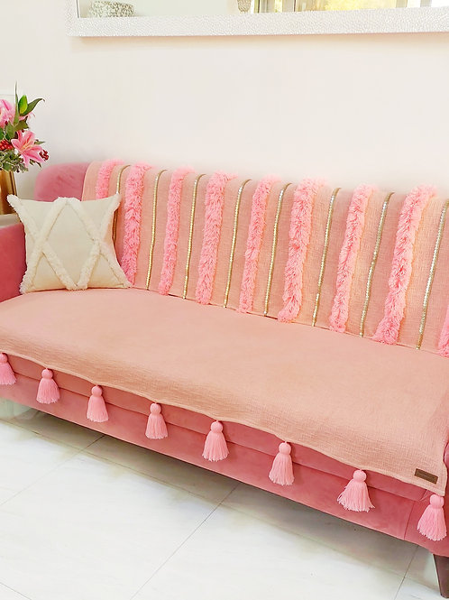 Moroccan Tassel Throw/Couch Cover- Peach