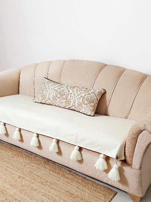 Neutral Cotton Solid Tassel Couch Cover