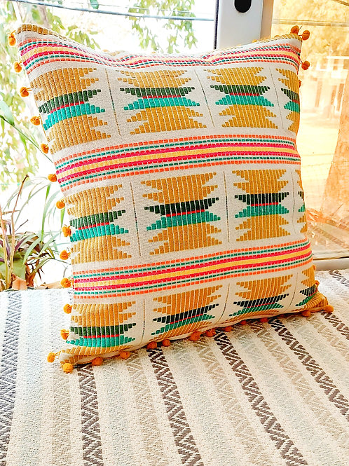 Yellow Threadwork Cushion Cover with pom poms