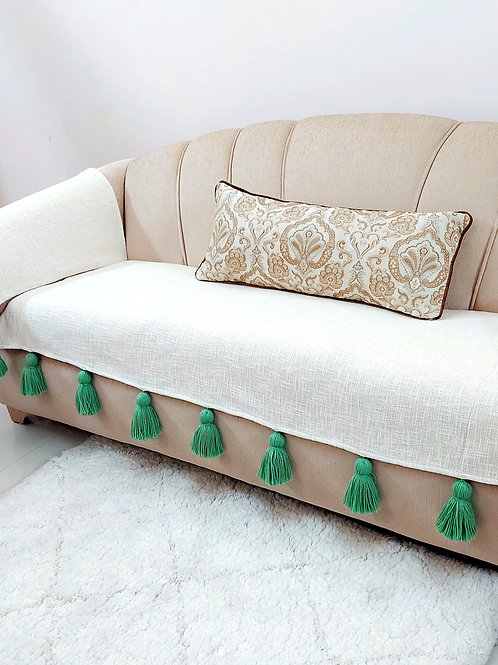 White Textured Throw/ Couch Cover with Green Tassels