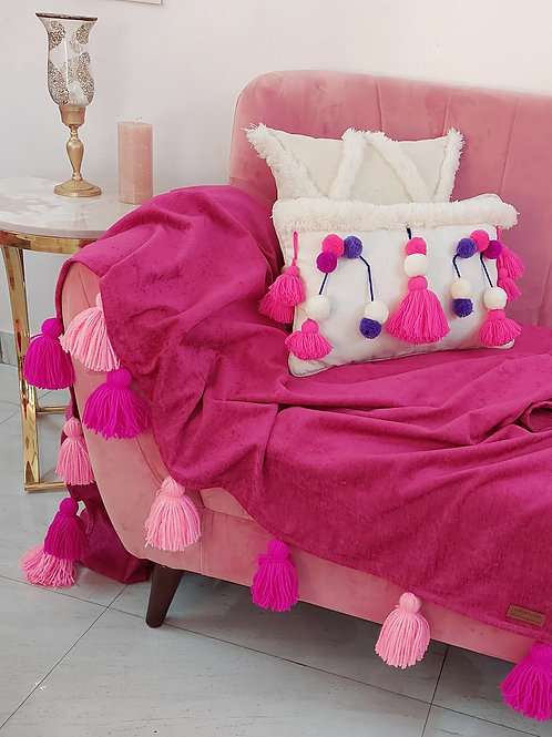 Fuchsia Pink Solid Tassel Throw/Sofa Cover With Tassels