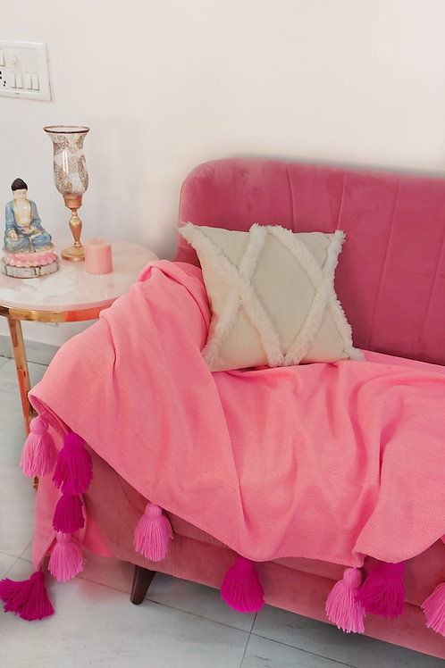 Carrot Pink Cotton Throw/Couch Cover with Tassels