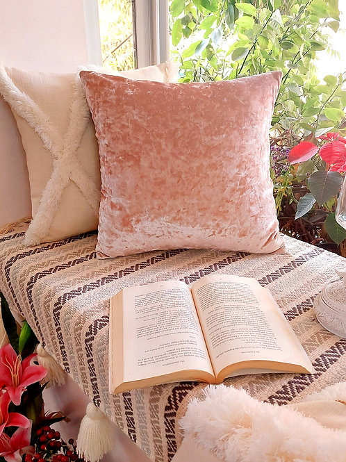 Blush Crush textured Velvet Cushion Cover