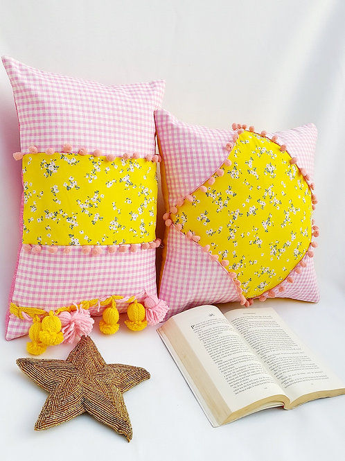 Checkered with Floral Print Patch Cushion Cover