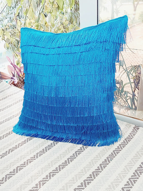 Teal Fringe Layered Solid Cushion Cover