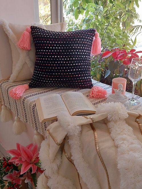 Dotted Pathways Black Cushion Cover with Pink Tassels