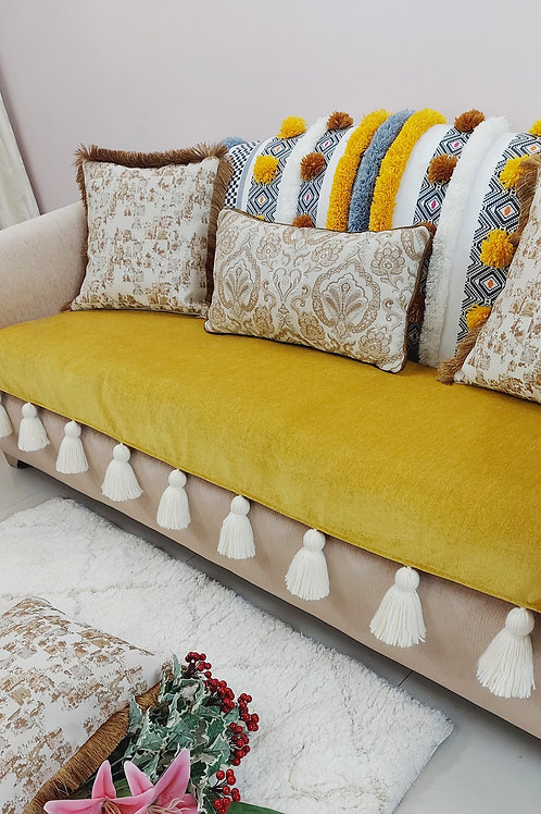 Mustard Bohemian Tufted Multicolored Tassel Throw/Couch Cover Set