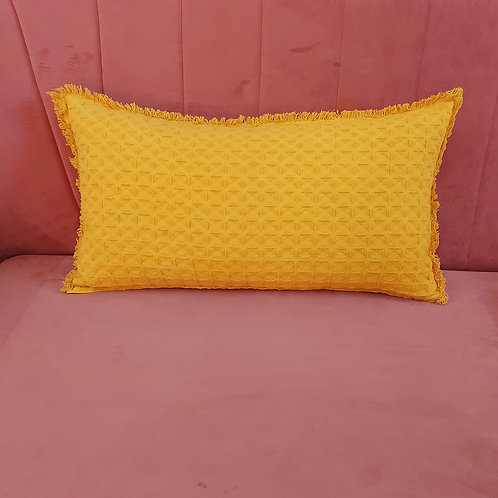 Textured Weave Yellow Cushion Cover with Light Fringes