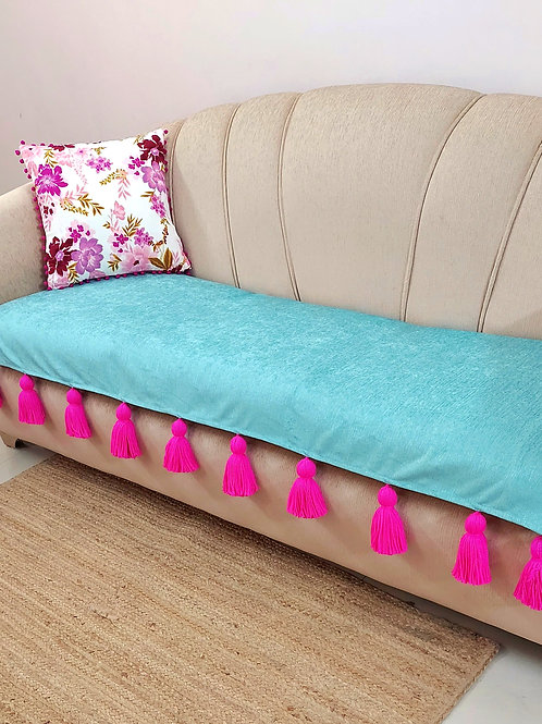Cadet Blue Throw/Couch Cover with Fuchsia  Tassels