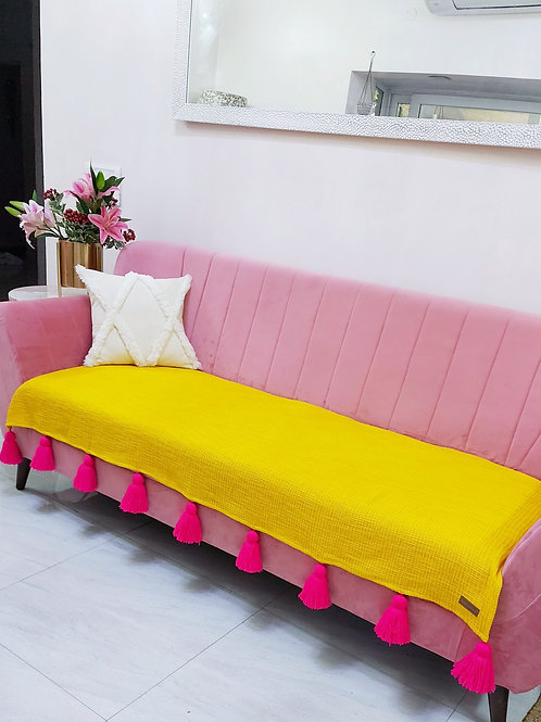 Mustard Textured Couch Cover with Pink Tassels