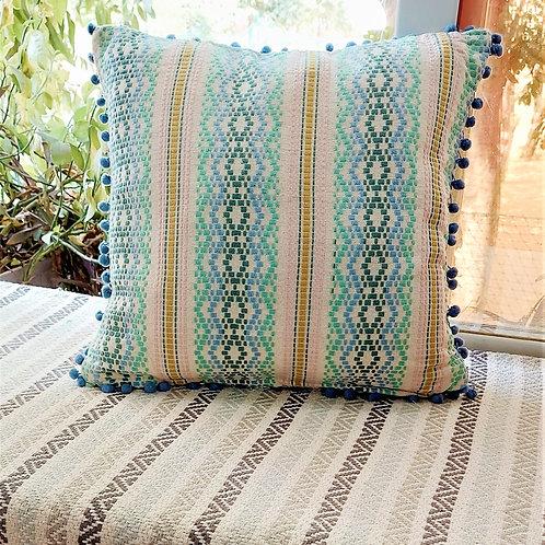 Multicoloured Pom Pom Thread work Cushion Cover