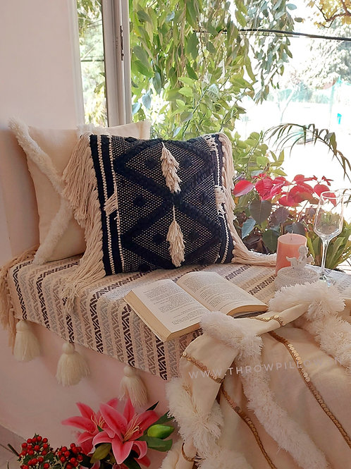Oreo Textured Fringed Cushion Cover