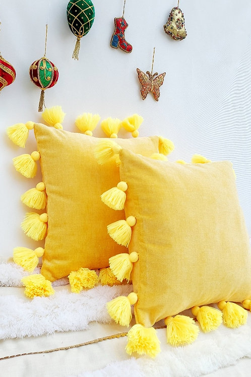 All round Yellow Tassel Cushion Cover