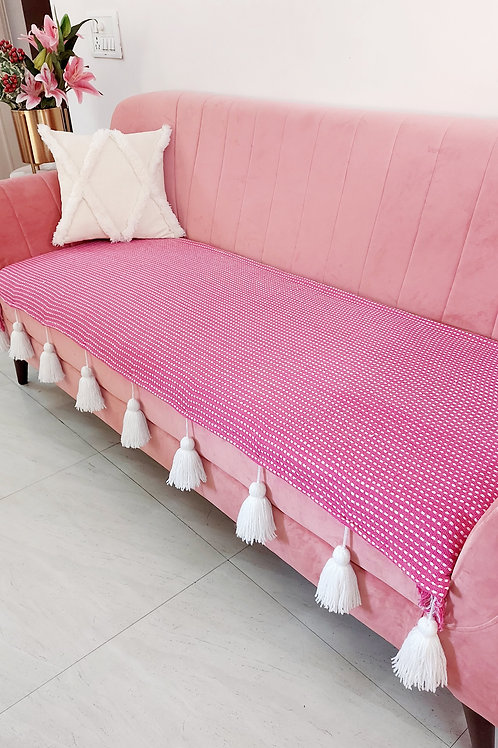 Pink  Dotted Lines Textured Tassel Throw