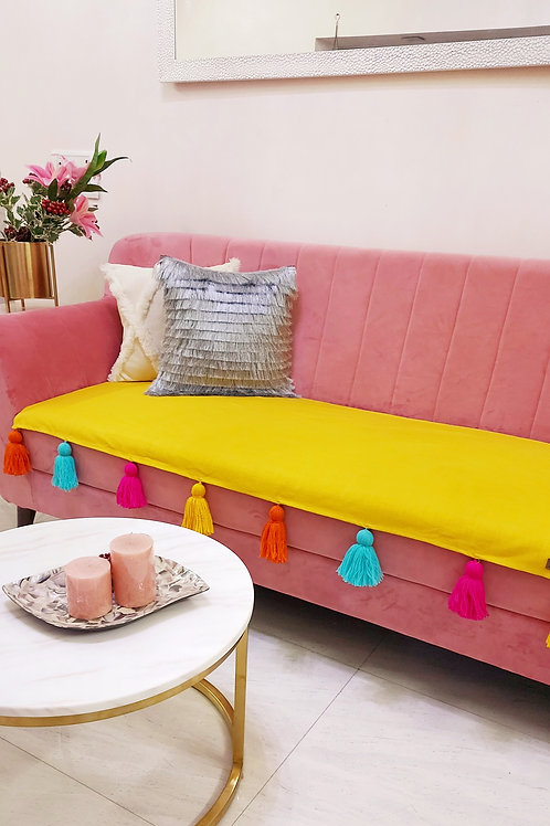 Mustard Throw with Multicolour Tassels