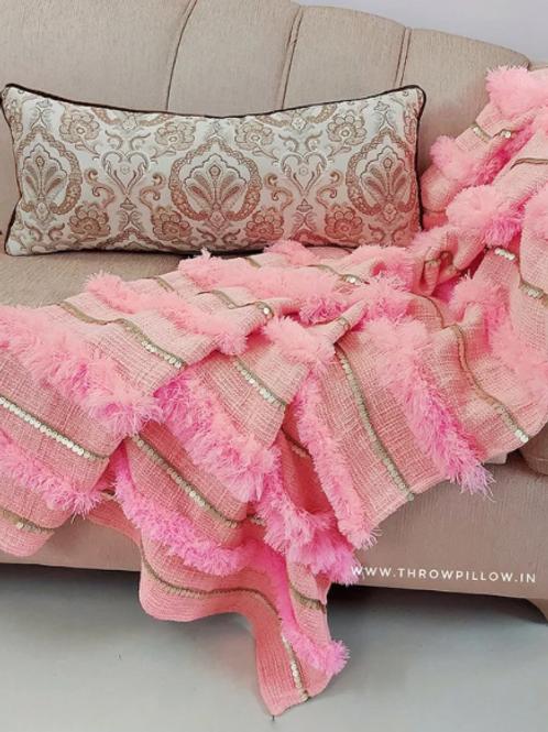 Blush Pink Wedding Tuft Throw