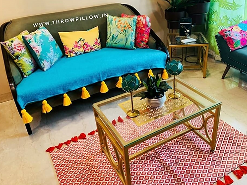 Turquoise Blue Couch Cover with yellow tassels