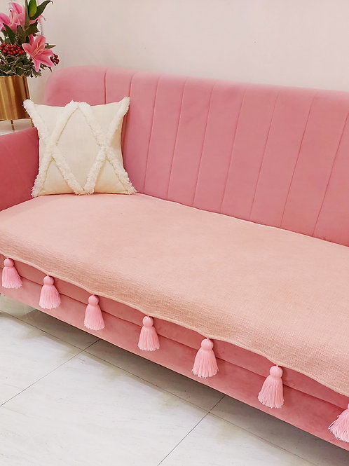 Blush Textured Tassel Throw/Couch Cover